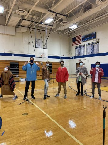 Joseph Muscarelle, Bernard Sweetman, Max Nokes, Joaquin Kull, Tommy Gilligan, and Gerry Alvarez pose for a wonderful picture in their Shakespearean attire for the Fall Play.
